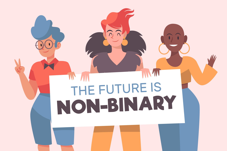 """Drei Personen stehen vor einem rosafarbenen Hintergrund und halten ein Schild mit der Aufschrift """"The Future is non-binary"""" in der Hand"""